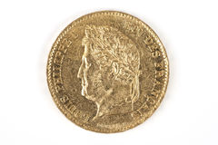 Gold coin with Louis-Philippe Stock Photo