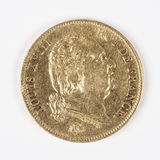 Gold coin with Louis XVIII. Old french currency Royalty Free Stock Images