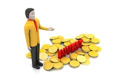 Gold coin with man investment concept Royalty Free Stock Photo