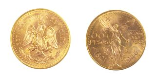 Gold coin of Mexiacan Pesos. Front and back of fine gold, isolated on pure white background Stock Images