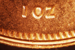 Gold Coin. Micro Photo of a Gold Coin Royalty Free Stock Photo