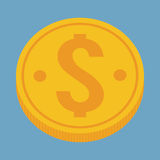 Gold coin of money concept. Gold coin icon. Money financial item commerce market and payment theme. Colorful design. Vector illustration Stock Image