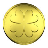 Gold Coin Money, with Four-leaf Clover symbol Royalty Free Stock Photo