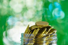 Gold coin money in the glass jar on table in garden with green b Royalty Free Stock Images