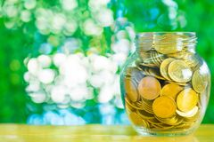 Gold coin money in the glass jar on table in garden with green b. Ackground, for saving for the future banking financial concept Royalty Free Stock Photo