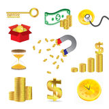 Gold Coin and Money set Royalty Free Stock Photos
