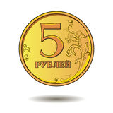 Gold coin with the number five Royalty Free Stock Photos