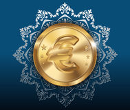 Gold coin and pattern background, gold coins with euro Stock Image