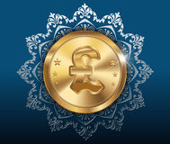 Gold coin and pattern background, gold coins with pound Stock Images