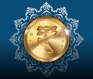 Gold coin and pattern background, gold coins with rupee Royalty Free Stock Photo