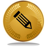 Gold Coin - Pencil Royalty Free Stock Photos