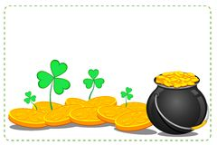 Gold Coin Pot of Saint Patrick Day Royalty Free Stock Photos