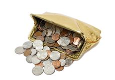 Gold Coin Purse Spilling Coins Royalty Free Stock Image