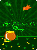 Gold coin's cauldron with birds. Having shamrock leafs for St. Patrick's Day Stock Illustration