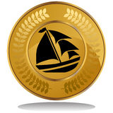 Gold Coin - Sail Boat Royalty Free Stock Photo