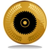 Gold Coin - Saw Blade Stock Images