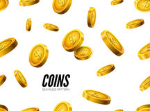 Gold coin seamless pattern. Wealth business background. Dollar finance success pattern. Vector money currency Royalty Free Stock Photos