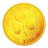 Gold coin with shamrock Royalty Free Stock Photos