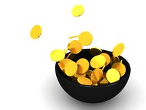 Gold coin splash in bowl. An illustration of a gold coin splash in a black bowl in a white  background Stock Photo