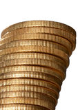 Gold coin stack. Stack of gold krugerrand coins, isolated stock photography