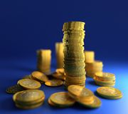 Gold coin stack Stock Photos