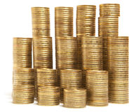 Gold coin stack isolated Stock Image