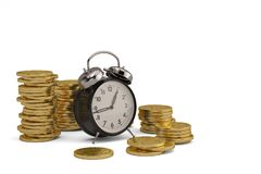 Gold coin stacks and alarm clock on white background. 3D illustr. Ation stock illustration