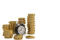 Gold coin stacks and alarm clock on white background. 3D illustr. Ation vector illustration
