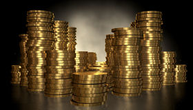 Gold Coin Stacks Stock Images
