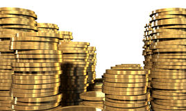 Gold Coin Stacks Stock Photography
