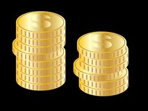 Gold coin stacks (vector) Royalty Free Stock Photography