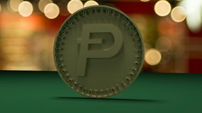 Gold coin with the symbol of the digital crypt of currency Potcoin stands on a green cloth, on a background of a holiday. vector illustration