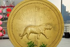 Gold coin of tiger Royalty Free Stock Image
