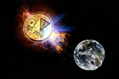 Gold coin of TON falls to the ground from space. TON attack earth. Elements of this image furnished by NASA Royalty Free Stock Photo