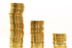 Gold coin tower Royalty Free Stock Image