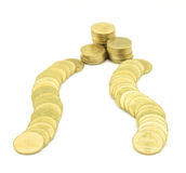 Gold coin way to rich. Gold coin put like way to pile of money, mean success ahead Stock Images