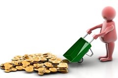 Gold Coin In Wheelbarrow Royalty Free Stock Images