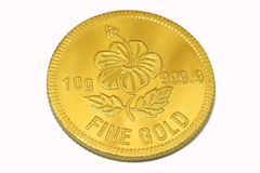 Gold coin on white background. Gold coin on white isolated background Royalty Free Stock Photos