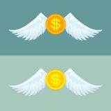 Gold coin with wings. Royalty Free Stock Images