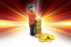 Gold coin with woman investment concept Royalty Free Stock Photo