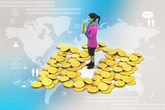 Gold coin with woman investment concept Royalty Free Stock Photography