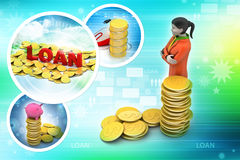 Gold coin with woman investment concept Stock Photo