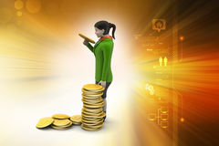 Gold coin with woman investment concept Stock Photography
