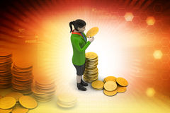 Gold coin with woman investment concept Stock Photos