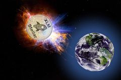Gold coin of XLM falls to the ground from space. Elements of this image furnished by NASA. stock photos