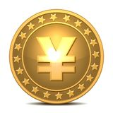 Gold coin with yen sign. Royalty Free Stock Photography