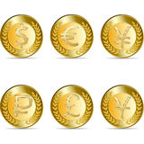 Gold coin with yen sign. Stock Photo