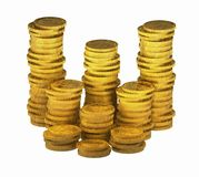 Gold_coins_00. Computer-generated 3D graphic depicting a stacks of gold coins (concept: wealth Royalty Free Stock Photo