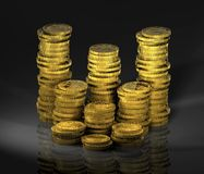 Gold_coins_01. Computer-generated 3D graphic depicting a stacks of gold coins (concept: wealth Stock Images