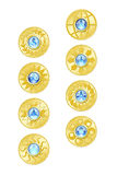 Gold Coins. And blue glass on white background with clipping paths Stock Image